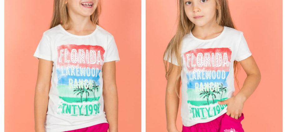 Biały t-shirt dziecięcy dla dziewczynki w letniej stylizacji z szortami