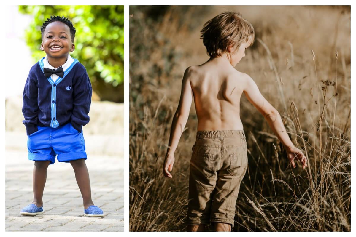 Niebieskie i beżowe szorty dla chłopca