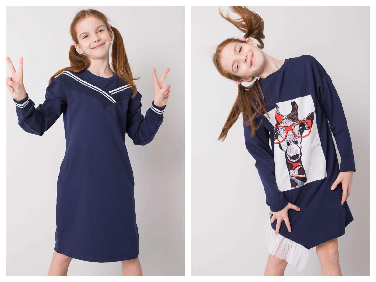 Dresowa sukienki dla dziewczynki z długim rękawem