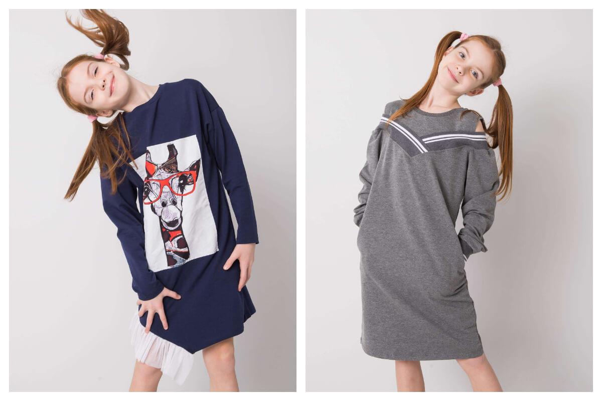 Bawełniane sukienki dla dziewczynki do szkoły z nadrukiem
